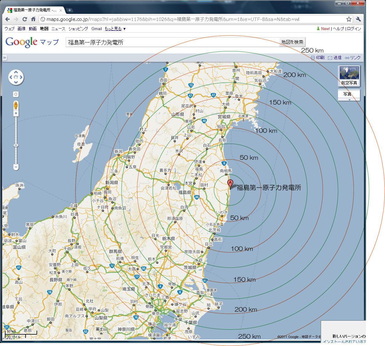 原発からの距離 : 日本 河川 地図 : 日本